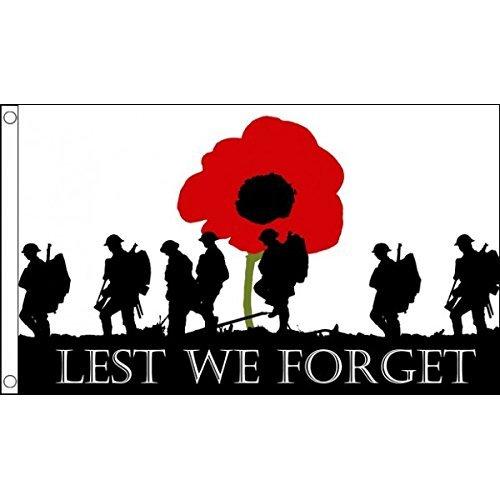 3ft x 2ft (90x 60cm), dass wir nicht vergessen Poppy Remembrance Day Krieg Soldaten Armee 100% Polyester Material Flagge Banner Ideal für Pub Club Schule Festival Business Party Dekoration -