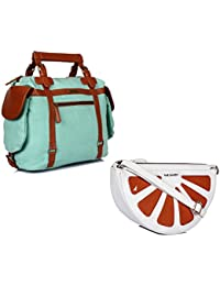 THE MAKER Combo Of Sky Blue Synthetic Leather Unisex Duffle Bag With White And Orange Synthetic Leather Sling...