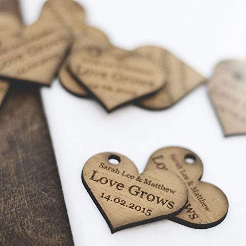 Cuori di legno personalizzabili, grandi 4 cm, per bomboniere nuziali, inviti o decorazioni, legno, natural, 50