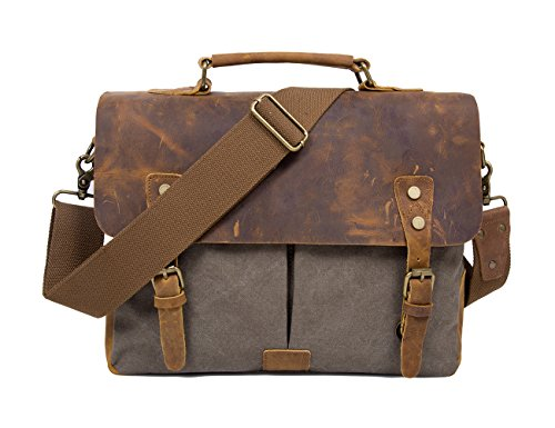 ecosusi-uni-sex-vintage-genuine-leather-messenger-bag-with-canvas-strap-fits-14-inch-laptop-army-gre