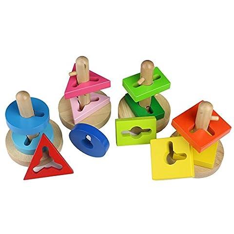 Jeu de Puzzle en Bois Multicolore Formes Géométriques Reconnaissance Trier par Correspondance Pivotant Blocs de Construction Briques pour Enfants