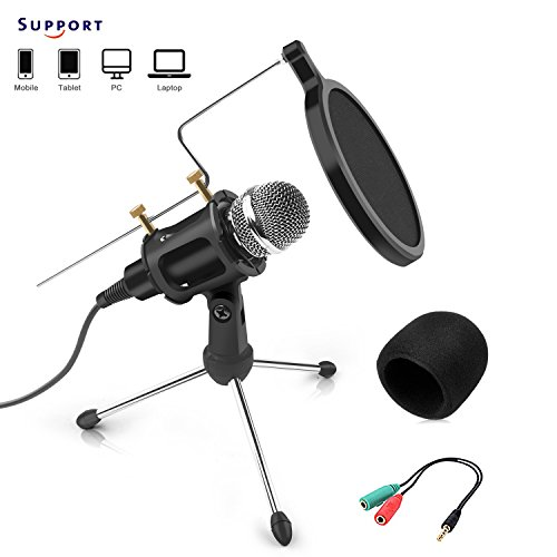 Microphone à condensateur professionnel -Jomst Profession Condenser Microphone for PC, Computer, Windows / Mac, for Podcast, Online Chatting,with Tripod Stand, Windscreen