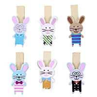Winwinfly 12pcs Lovely Wooden Rabbits Paper Clips with Hemp Rope Wooden Photo Pegs Clothespin Party Decor