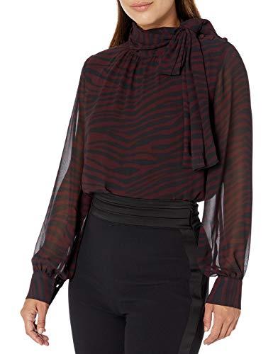 Vince Camuto Damen Tranquil Animal Button Shoulder Tie Neck Blouse Hemd, Port, Klein -