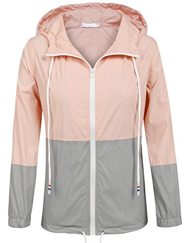 Damen Jacke Windbreaker Übergangsjacke Wasserabweisend Regenmantel Regenjacke mit Kapuze , Farbe - Rosa , Gr. M