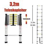 3,2m Teleskopleiter Aluleiter Mehrzweckleiter Ausziehbar Stehleiter Gerade Leiter Antirutsch Auszugsleiter 150 Kg Belastbar