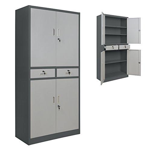 2er Set Spind Büroschrank 180 x 85 x 40 cm Mehrzweckschrank mit Schubläden und Einlegeböden Schließfachschrank Wertfachschrank Ordnerschrank Metallschrank, Farbe:Dunkelgrau - Grau