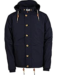 Weekend Offender New Mens Parka Navy Jacket Damon Padded Quilted Hooded Coat