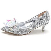 NBWE Cenicienta Crystal High Heels Nupcial Diamantes De Imitación Zapatos De Boda,Silver-5.5CM-33