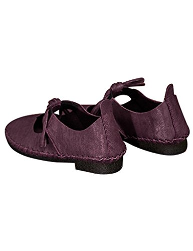 Youlee Femmes Tassel Cuir Chaussures coupe-bas purple