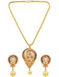 Sri Shringarr Fashion Traditional Micro Gold Polished Antique Work With American Diamond Pendant Set For Women...