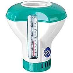 Gre DCT20 - Doseur flottant avec thermomètre pour piscines, pour pastilles de 20 g