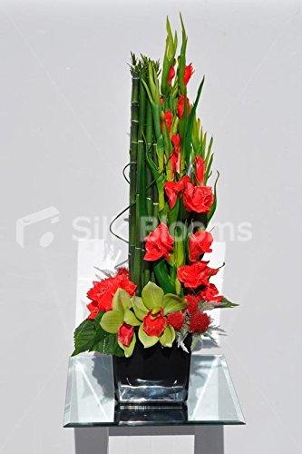 Moderno arreglo Floral de gladiolos Rojos Artificiales, Cardo y cimbidium orquídea