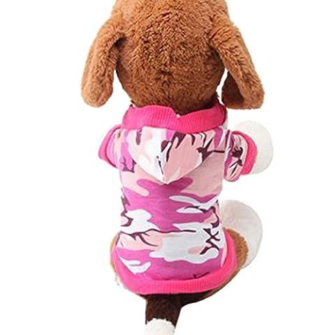 Loveso-Kleider Bekleidung New Hunde-Kleidung Haustier-Sweatshirt Camo Camouflage Coats Hoodies Kostüm (S, (Rosa Camo Hund)