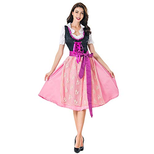 Damen Oktoberfest Kostüm karnevalskostüme Mädchen Cosplay Taverne Bar Maid Dress Traditionelles Midikleid Karneval Kostüm Biermädchen Bierfest Anzug ZHANSANFM (L, Rosa) (Halloween 2019 Original Kostüme)
