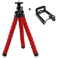 Techlife Flexible Medium Size Tripod Stand for DSLR, Digital Cameras and Phones with Universal Mobile Holder (25 cm Height, Red)