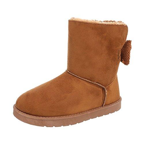 Ital-Design Stiefel & Boots Kinder-Schuhe Klassischer Stiefel Mädchen Stiefeletten Camel, Gr 34, 5726-1- (34 Designs)