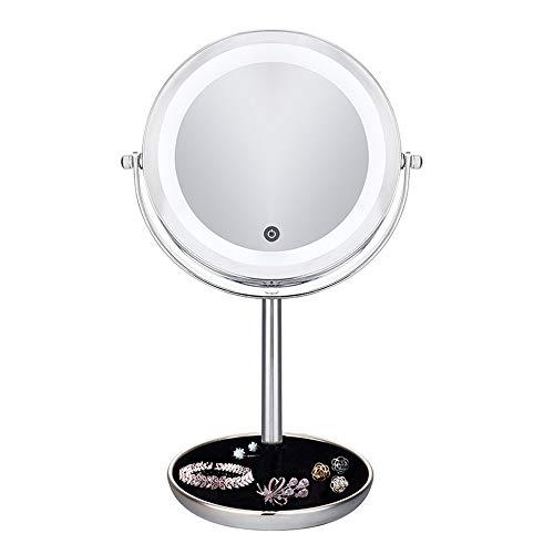 Wig girl Vanidad de Dos Caras iluminada por LED con Espejo de Maquillaje con Normal y 5 aumentos Pantalla...