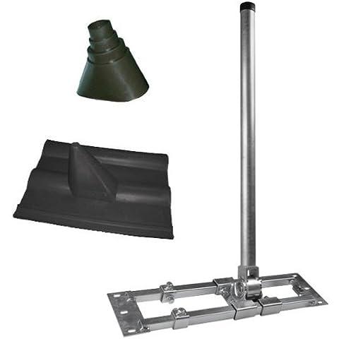 Staffa Di Rafter Hercules con 90cm Mast, S48-90 estensibile 55-90cm + Copertura tetto Francoforte Nero + Manicotto di gomma NUOVO