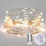 WeihnachtsBeleuchtung, Feen Lichter 100 LED Warmweiß Micro Saiten Leuchten Indoor-und Outdoor-Nutzung FernBedienung, Batterie angetrieben-10M/33ft beleuchtete Länge Silber Kabel