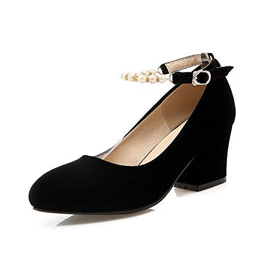 AllhqFashion Femme Couleur Unie Dépolissement à Talon Correct Boucle Rond Chaussures Légeres Noir