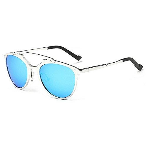 Wxx000 Aviator Sonnenbrillen Herren Damenmode 80er Jahre Retro Style Designer Shades UV400 Objektiv Unisex (Color : Blue)