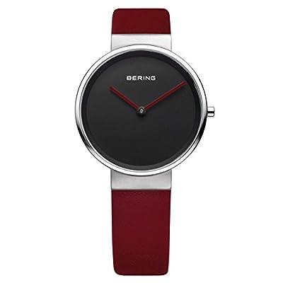 Bering Time - Reloj Analógico de Cuarzo para Mujer, correa de Cuero color Rojo de Bering Time
