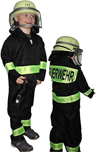 Max Kostüm Kleinkind - Kinderkostüm: Feuerwehranzug mit Feuerwehr-Schriftzug , Kinder-Größe: 98