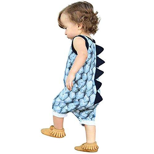 Baby Junge Kleidung Outfit, Honestyi Neugeborenes Baby Mädchen Boy Dinosaurier Strampler Overall Outfits Kleidung Set (Blau,70)