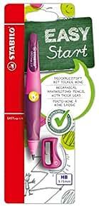Ergonomischer Druck-Bleistift - STABILO EASYergo 3.15 in pink/lila - inklusive 1 dicker Mine - Härtegrad HB & Spitzer - für Linkshänder