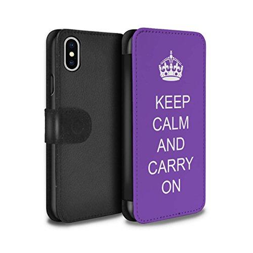 Stuff4 Coque/Etui/Housse Cuir PU Case/Cover pour Apple iPhone X/10 / Pack 25pcs Design / Reste Calme Collection Continuer/Violet