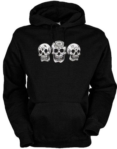 Gotik Totenkopf Kapuzensweater unisex : 3 Skulls / bedruckter Hoodie Größe XL Farbe schwarz