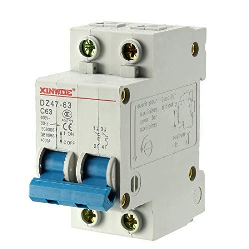 Din Mount Circuit Breaker (ZCHXD 2 Poles 63A 400V Low-voltage Miniature Circuit Breaker Din Rail Mount DZ47-63 C63)