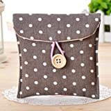 FOK 2 Pc Woman Portable Cotton Blends Dotted Sanitary Napkin Holder Bag Pouch (Color- Grey)