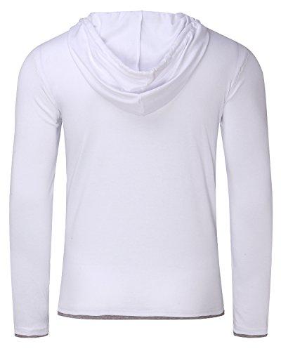 MODCHOK Herren Kapuzepullover Langarmshirt Hoodie Oversize T-Shirt Sweatshirt Hoody Fitness Weiß