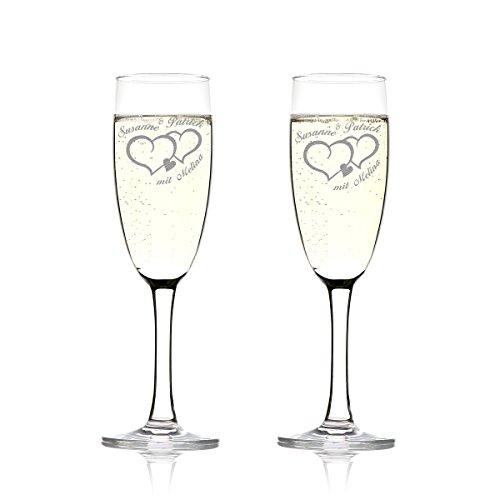 Set de verres de champagne avec gravure Motiv - Deux cœurs avec petit coeur