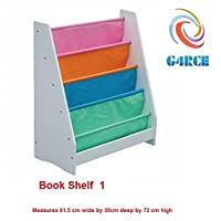 G4RCE® 4 Tier Wood Book Shelf Sling Bookcase Storage Rack Organizer Display Holder Kids