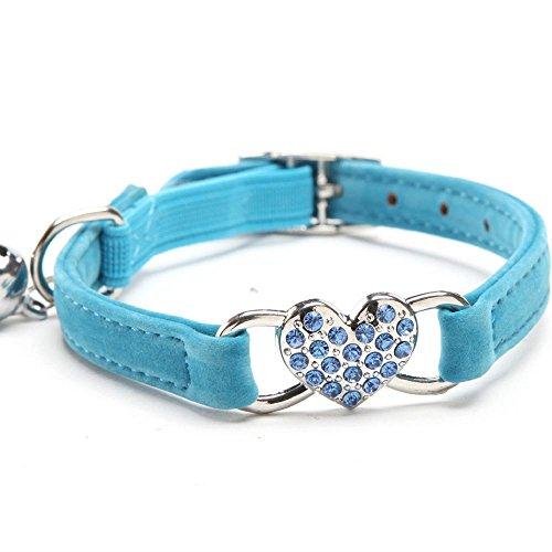 Doublehero Verstellbar Hundehalsband Katzenhalsband Niedlich Crystal Bowtie Bell Beflockung Halsband für Hunde Katzen (Blau)