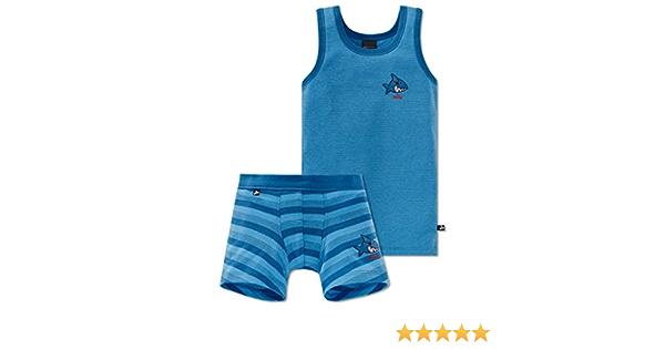 Shorts Jeans Blau Schiesser Jungen Captn Sharky Unterw/äsche Set Unterhemd