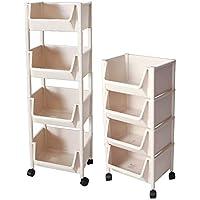 Rack de almacenamiento de cuatro niveles y estante sobre ruedas Rack de baño Rack de almacenamiento de piso de múltiples capas (Color : Blanco)