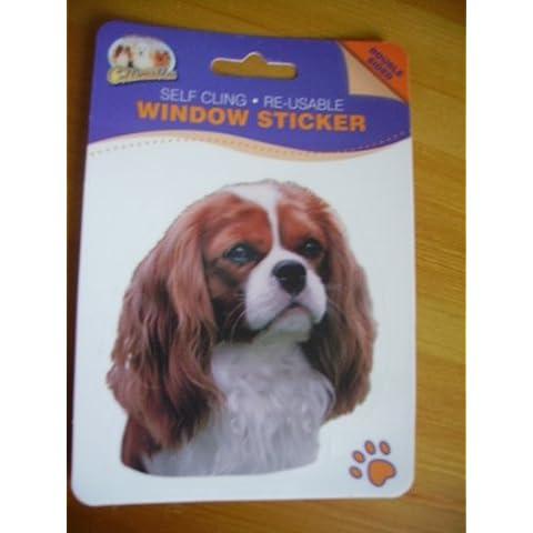 Cavalier King Charles Spaniel, Peluche a forma di cane Spaniel, double face, auto-adesivo per finestra