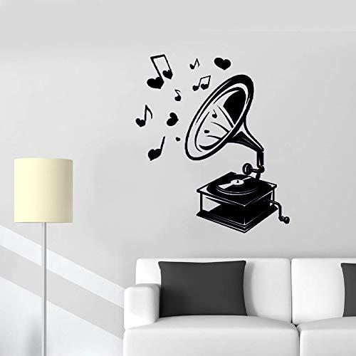 Vintage Retro Musik Grammophon Wandtattoo Aufkleber Wohnkultur Wohnzimmer Schlafzimmer Vinyl Kunst Decals Notizen Abnehmbare Muster schwarz 42X46 CM