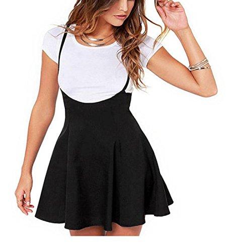 Rcool Frauen Mode schwarzen Rock mit Schulterriemen plissiert Mini Kleid Schwarz (S)