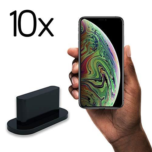 innoGadgets 10x Staubschutz Stöpsel kompatibel mit iPhone 7/8/X/Xs/Xr   Staubstecker, Schutz für Lightning Anschluss   Staubstöpsel aus Silikon - Schwarz