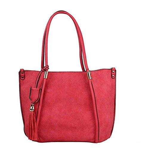 Hautefordiva , Damen Tote-Tasche blau L rot