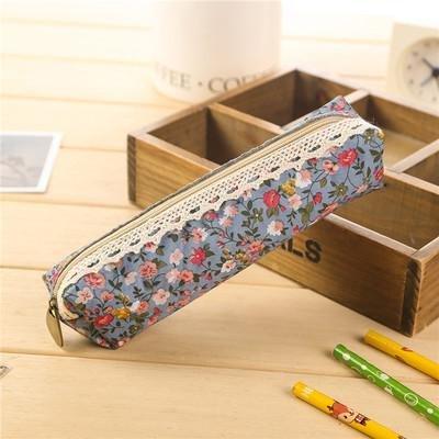 Wagonste - Mini Retro-Blumen-Blumenspitze Bleistift-Kasten, Bleistift-Beutel-Schulbedarf Kosmetik Make-up-Tasche Reißverschluss-Beutel-Geldbeutel, Estojo Escolar [B] - Mini-bleistift-kasten