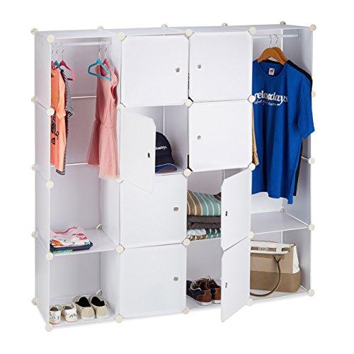 Relaxdays Kleiderschrank Stecksystem mit 12 Fächern, großer Garderobenschrank aus Kunststoff,...