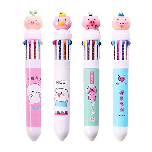 YFairy - 1 Stück, Kugelschreiber, Mehrfarbig, 10-in-1, süßes Cartoon-Schwein, Presse, Schulbüro, Zubehör, Schreibwaren, Kinder-Geschenk (zufällige Farbe) -