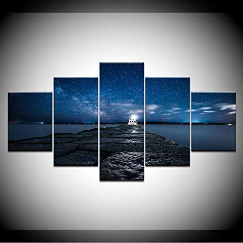 Wuwenw Persönliches Kunstdruck Moderne Poster Bilder 5 Stücke Strand Pier Brücke Sternenhimmel Gemälde Hd Druck Dekoration Wandkunst-30X40/60/80Cm,Without Frame (Sternenhimmel Eine Einem Zu Brücke)