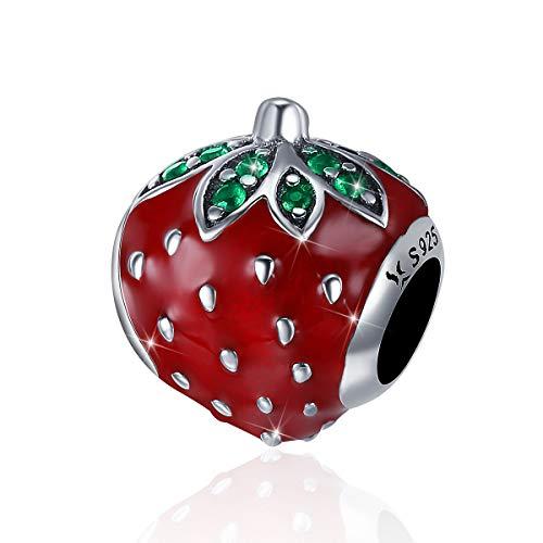Charm-Anhänger Erdbeerrot Emaille Frucht 925 Sterling Silber kompatibel mit Pandora-Armbändern/Halsketten - Verbotene Süße Früchte